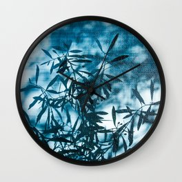 Olive tree leaves silhouette summer blue Wall Clock