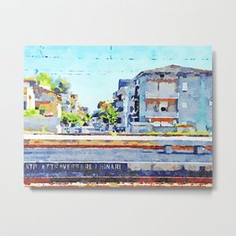 Travel by train from Teramo to Rome: station platform, tracks and buildings Metal Print
