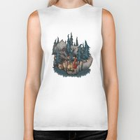 red riding hood Biker Tanks featuring Little Red Riding Hood by Anne Lambelet