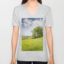 Idyllic Cotswold Summer Landscape Unisex V-Neck