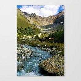 verpeil valley cows river mountains kaunertal tirol austria europe Canvas Print