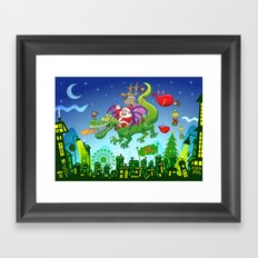 Santa changed his reindeer for a dragon Framed Art Print