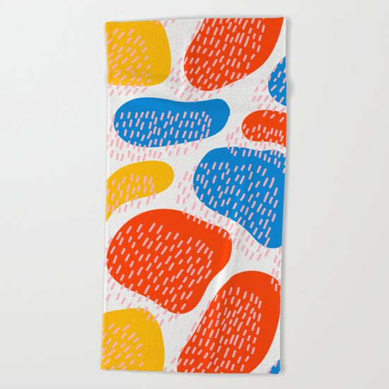 Abstract Orange, Blue and Yellow Memphis Inspired Pattern Beach Towel