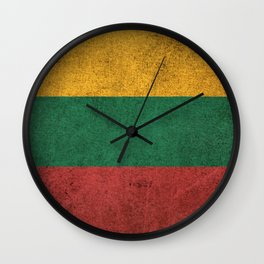 Old and Worn Distressed Vintage Flag of Lithuania Wall Clock
