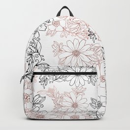 Hand drawn black faux rose gold floral Backpack