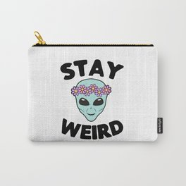 Stay Weird Alien Head Carry-All Pouch