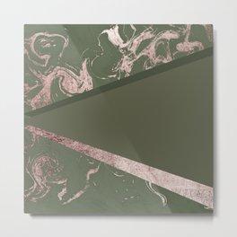 Military Green Rose Gold Geo Marble Metal Print