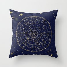 Metallic Gold Vintage Star Map 2 Throw Pillow