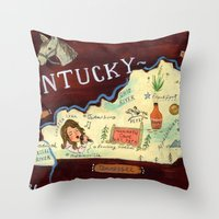 kentucky Throw Pillows featuring Kentucky by Christiane Engel