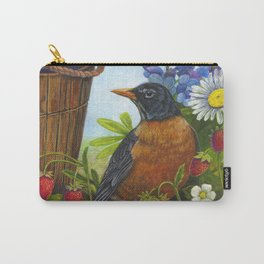 Robin and Old Wooden Bucket Carry-All Pouch
