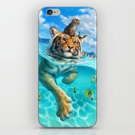 A small swim for a tiger iPhone Skin