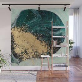 Abstract Pour Painting Liquid Marble Abstract Green Painting Gold Accent Wall Mural