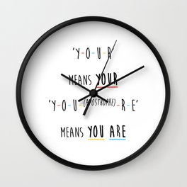 Y-O-U-R means YOUR Wall Clock