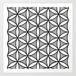 Flower of Life Pattern BW on Gray Art Print