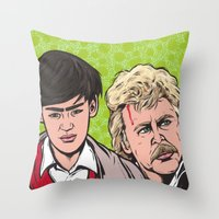 caleb troy Throw Pillows featuring Troy and Rowsdower by turddemon