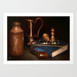 Still life with pipe Art Print