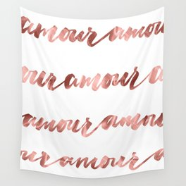 Amour French Love Script Rose Gold Typography Pattern Wall Tapestry