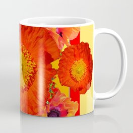 YELLOW-RED POPPIES GARDEN ART YELLOW PATTERNS Coffee Mug
