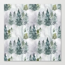 Artistic hand painted green white watercolor trees polka dots Canvas Print