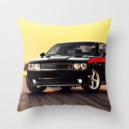 Black Challenger RT Classic with red badging and stripes Throw Pillow