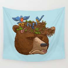 Mr Bear's Nature Hat 2017 Wall Tapestry