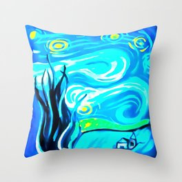 Starry Beach Throw Pillow