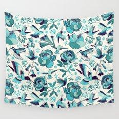 Hummingbird summerdance, Blue Wall Tapestry