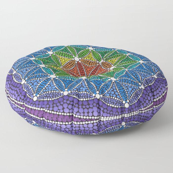 Rainbow Happy Flower of Life Floor Pillow