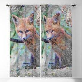 Artistic Animal Fox Baby Blackout Curtain