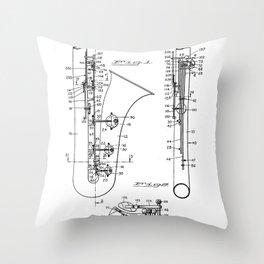 Selmer Saxophone Patent - Saxophone Art - Black And White Throw Pillow