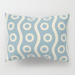 Mid Century Modern Rising Bubbles Pattern 2 Blue and Cream Pillow Sham