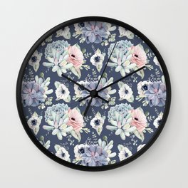 Beautiful Succulent Garden Navy Blue + Pink Wall Clock
