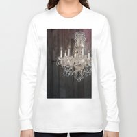 shabby chic Long Sleeve T-shirts featuring rustic nature barn wood western country shabby chic chandelier art by chicelegantboutique