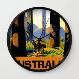Vintage Australia travel tall trees Marysville VIC Wall Clock