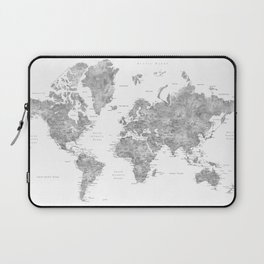 Grayscale watercolor world map with cities Laptop Sleeve