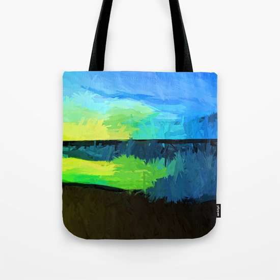 Yellow and Green Sun on the Blue Sea Tote Bag