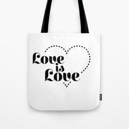 love is dash black lettering Tote Bag