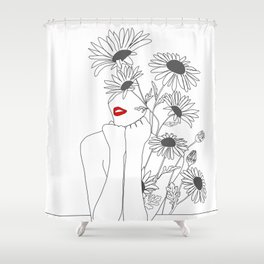 Minimal Line Art Girl with Sunflowers Shower Curtain