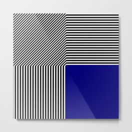 Geometric abstraction, black and white stripes, blue square Metal Print