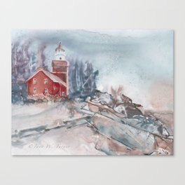 Big Bay Lighthouse Winter Canvas Print