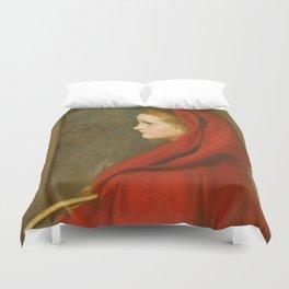"""John Everett Millais """"Red Riding Hood (A Portrait of Effie Millais, the artist's daughter)"""" Duvet Cover"""