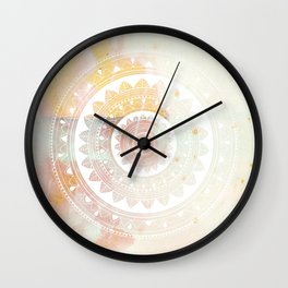 Ukatasana white mandala on pink Wall Clock