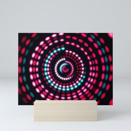 Colorful dance floor with several shining. Sound waves, Dance of lines and light. Mini Art Print