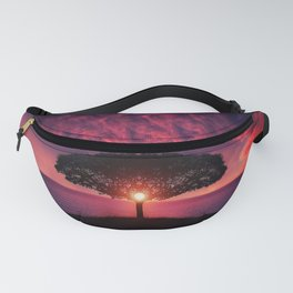Purple Coastal Sunset with Lonely One Tree Hill color photograph / photography Fanny Pack