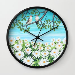 red bellied woodpeckers and daisies Wall Clock