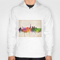 skyline Hoodies featuring Paris skyline  by Bekim ART