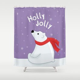 Polar Bear - Holly Jolly Shower Curtain