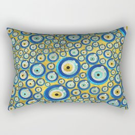 Greek Blue Glass Evil Eye Amulet Pattern Rectangular Pillow