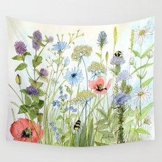 Botanical Cottage Garden Flowers Bees Wall Tapestry