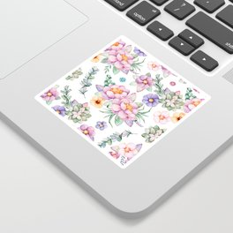 Pastel pink lavender green watercolor hand painted floral Sticker